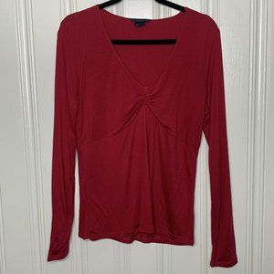 Boden Pink V-Neck Front Knot Long Sleeve Top Sz 16